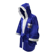 Satin Full Length Boxing Robe in Blue and White (Small)