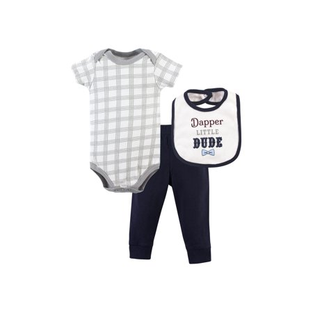 Little Treasure Baby Boy Bodysuit, Pants & Bib, 3pc Outfit Set