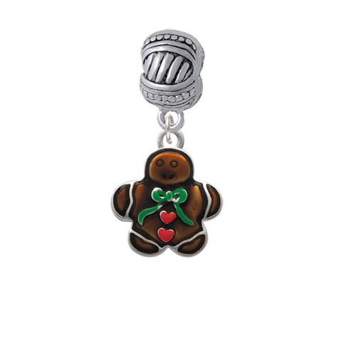 Gingerbread Boy with Bow - Large Rope with Cross Beads Charm Bead