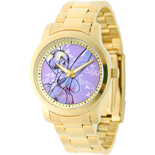 Disney Tinker Bell Women's Casual Alloy Watch, Gold Bracelet