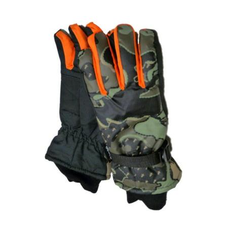 Aquarius Boys Green Camo Snow & Ski Gloves Thinsulate Insulated Camouflage Large](Green Lantern Gloves)