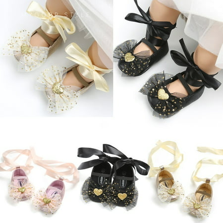 Sequin Princess Baby Girl Lace Bow Shoes Soft Bottom Cute Girl Shoes