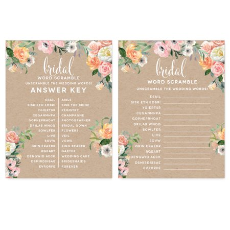 Peach Coral Kraft Brown Rustic Floral Garden Party Wedding, Wedding Word Scramble Bridal Shower Game Cards, 20-Pack
