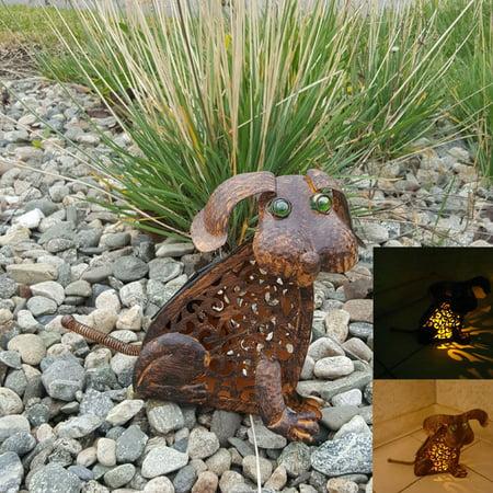 Antique Rustic Bronze Color Outdoor Garden Patio Metal Dog Solar Light w/ LED