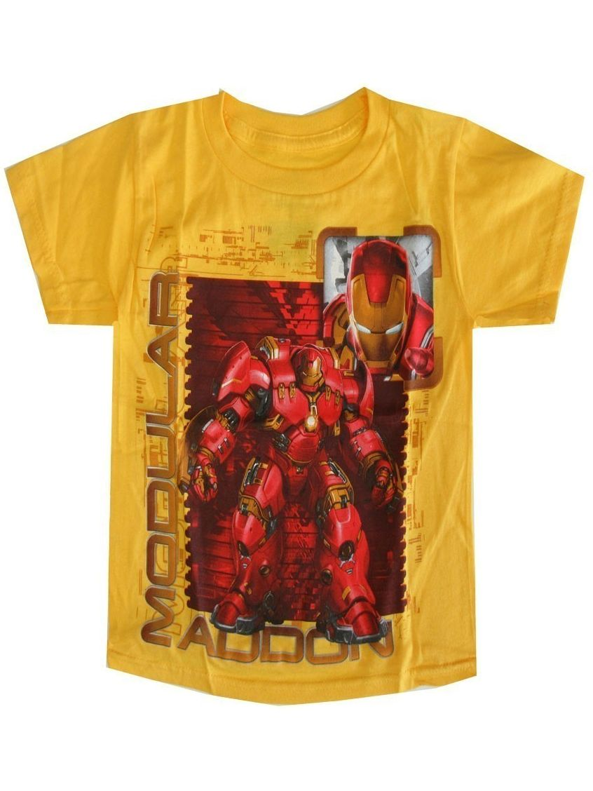 Marvel Little Boys Yellow Iron Man Modular Addon Short Sleeve T-Shirt