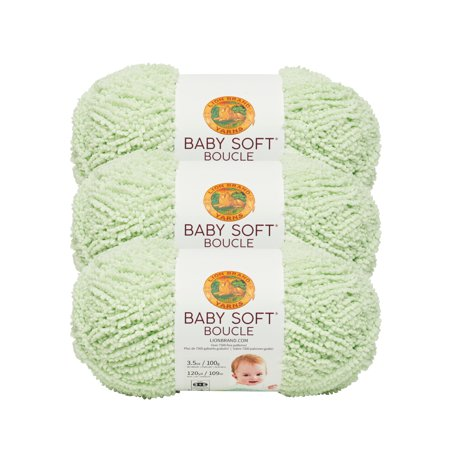 Lion Brand Yarn 918-173G BABY SOFT BOUCLE SPROUT 3 Pack Baby Yarn ()