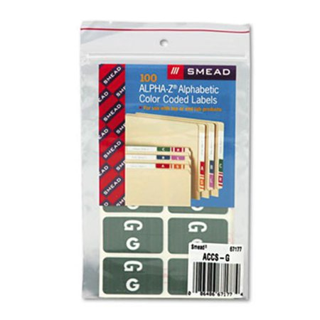 Smead 67177 Alpha-Z Color-Coded Second Letter Labels- Letter G- Gray- 100/Pack (Smead Letter A Labels)