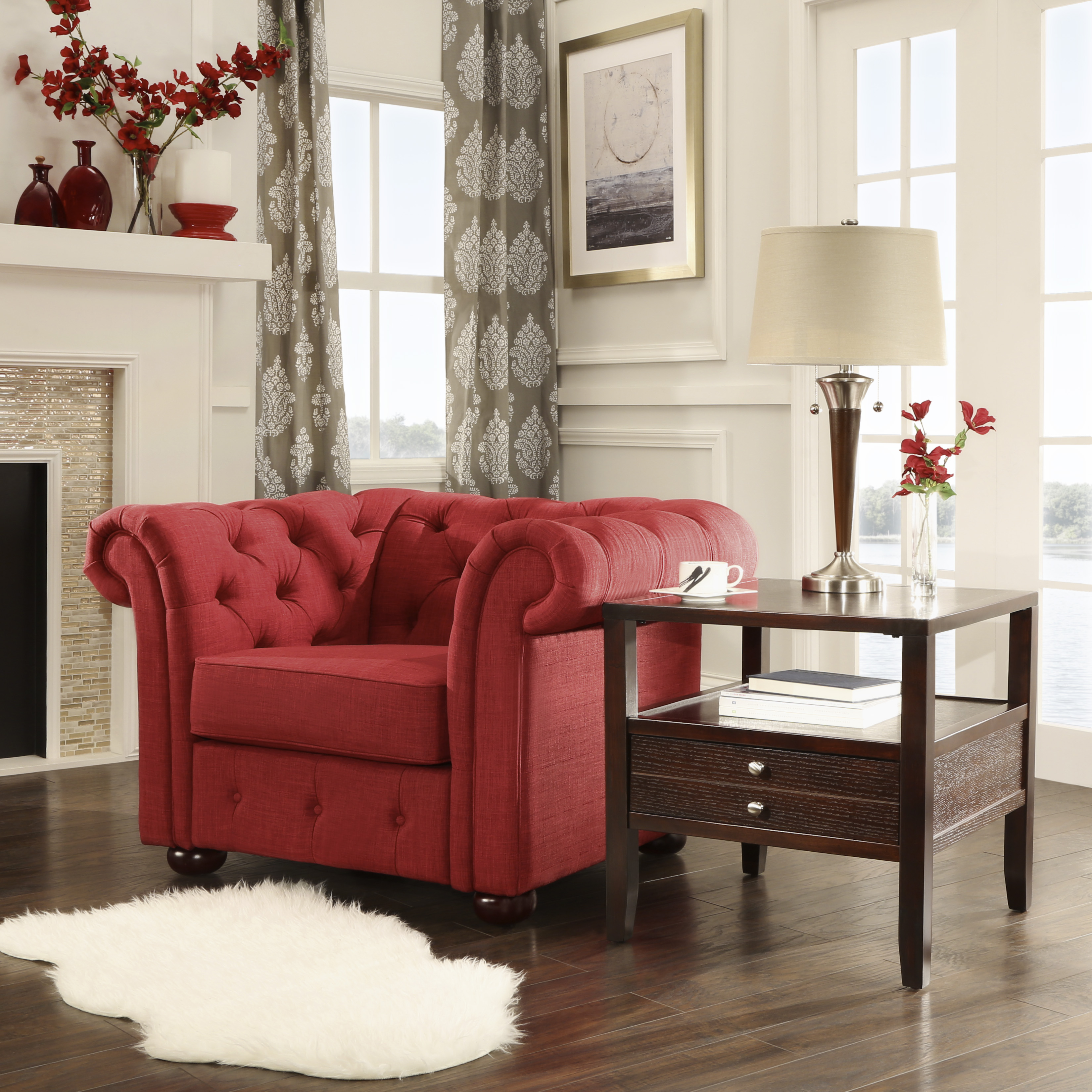 Weston home bowman tufted designed livingroom chair with curved arms multiple colors walmart com