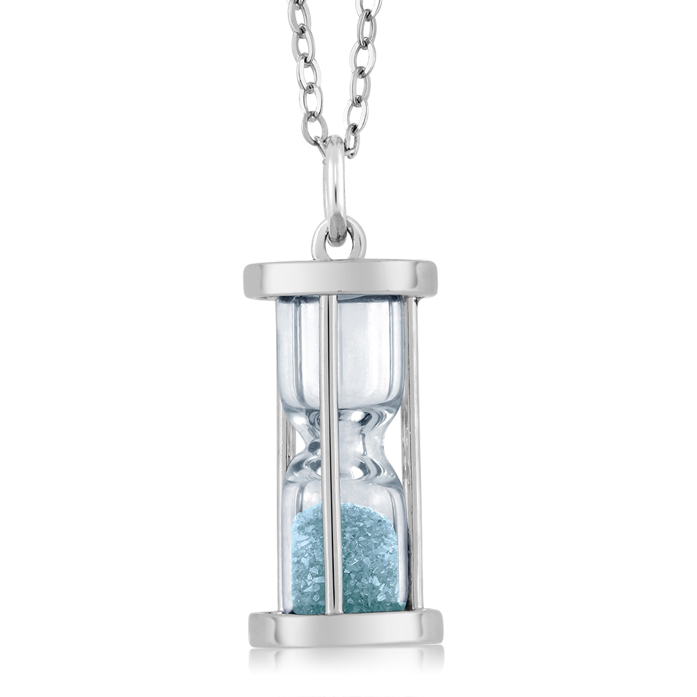 "Sterling Silver Hourglass Pendant and 0.75 Ct Aquamarine Dust 18"" Chain"