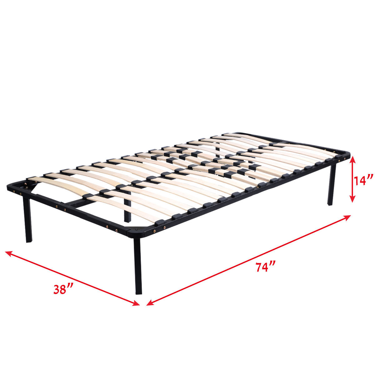Wood Slats Metal Bed Frame Platform  Mattress Foundation Twin Size