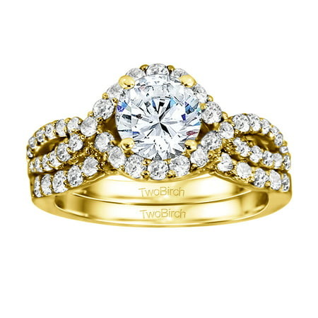 Bridal Set(engagment ring and matching band) set in 10k Gold With Moissanite(1.82tw)