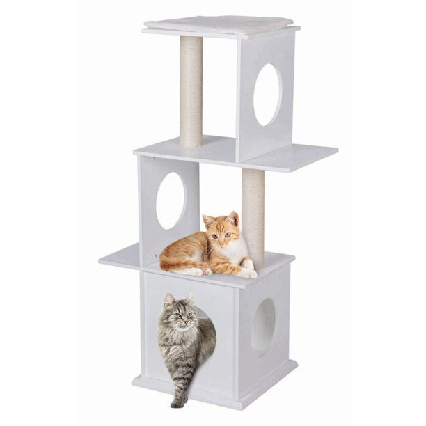 47 Quot Modern Deluxe Cat Tree 3 Floors Wood Furniture Climbing Play Tower With Condo House With Scratching Post Amp Pads White Walmart Com Walmart Com