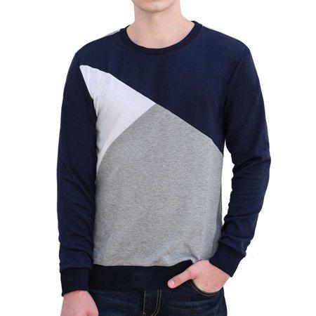 Allegra K Bloc Couleur Hommes Col Ras Du Cou Pull-over Manches Longues Garnitures Nervuré T-shirt - image 1 de 7
