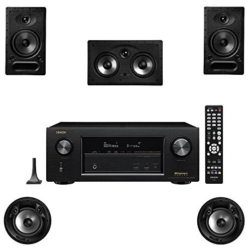 Polk Audio 65-RT 5 Channel Speaker Package with 80F X-RT and Denon AVR-X2300W AV Receiver by Polk Audio