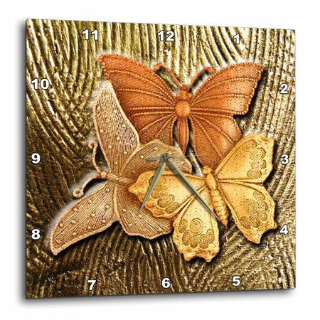 3dRose Gold Embossed background with accents and three beautiful butterflies in golds, yellows and copper., Wall Clock, 15 by 15-inch