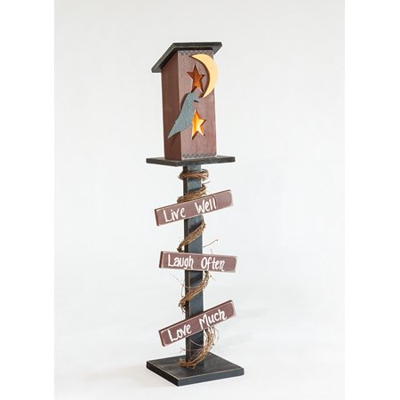 Decorative Sign Posts - Furniture Barn USA™ Primitive Decorative Rustic Luminary Out House on Post with Signs