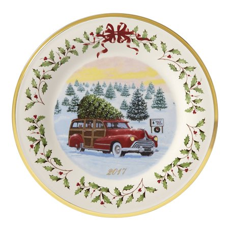 2017 lenox holiday red station wagon porcelain christmas collectors plate 869947