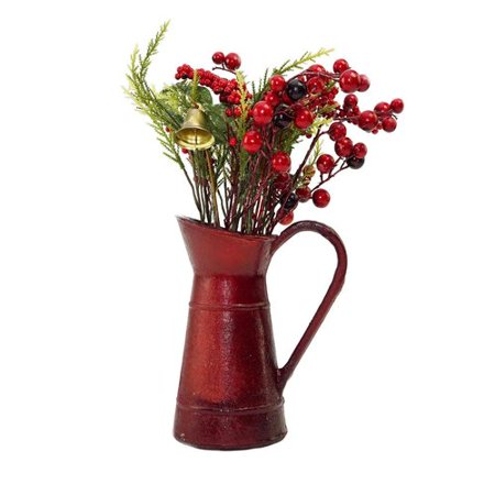 The Holiday Aisle Christmas Decoration Berry and Foliage with Bell Floral Arrangement in Vintage Milk Jug