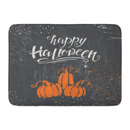 GODPOK Black Label Halloween Lettering Happy Message Design with Perfect for Templates and Party Orange Text Rug Doormat Bath Mat 23.6x15.7 inch](Halloween Classroom Door Designs)