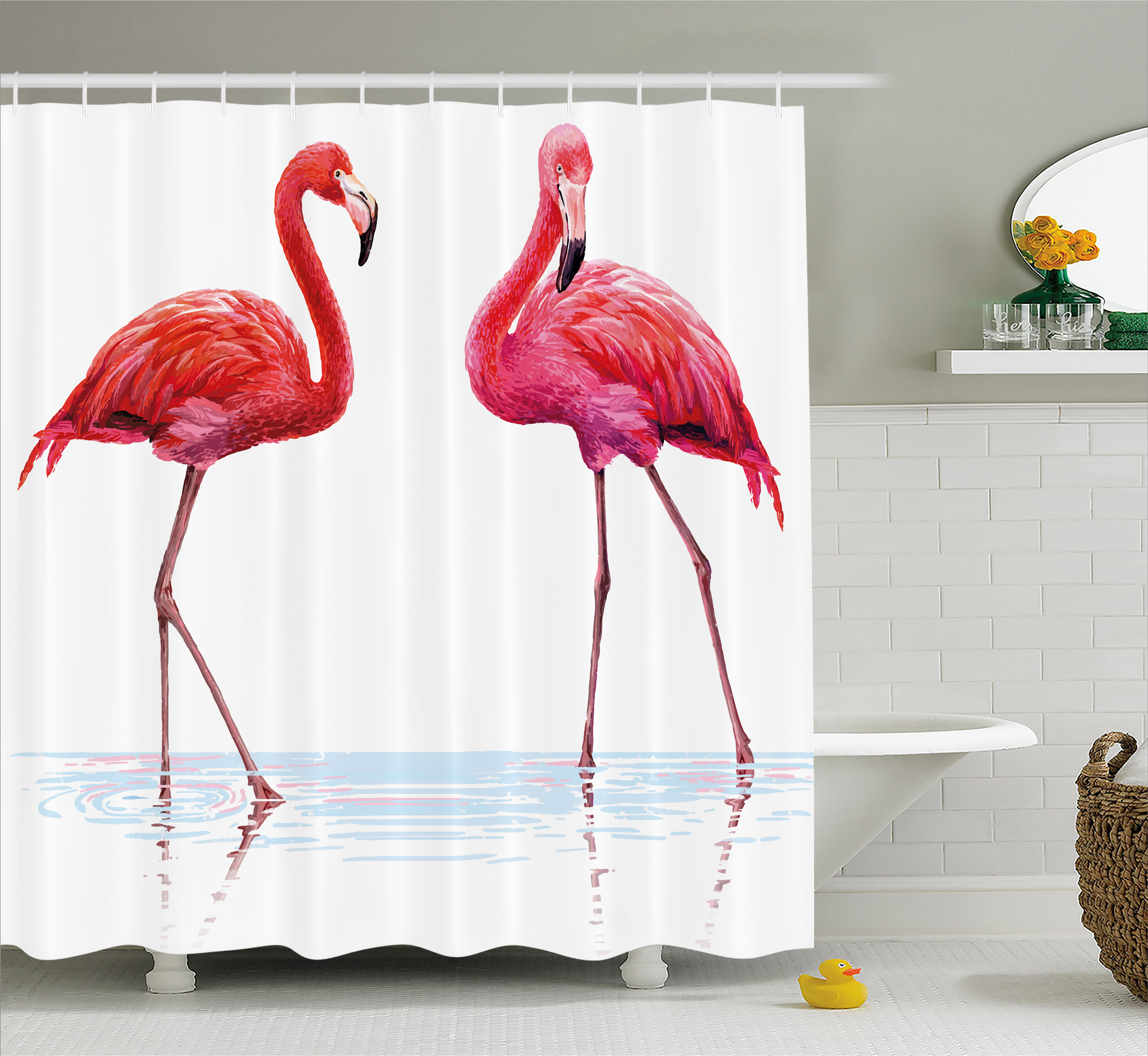 Animal Shower Curtain, Two Hand Drawn Flamingos in Pink Colors on Seaside Tropical Exotic Wildlife Artwork, Fabric Bathroom Set with Hooks, 69W X 84L Inches Extra Long, Red Pink, by Ambesonne