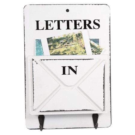 Hilitand Letter Rack Wood Mail Box Key Holder Wall Storage Creative Home Decoration with Hook Hanger