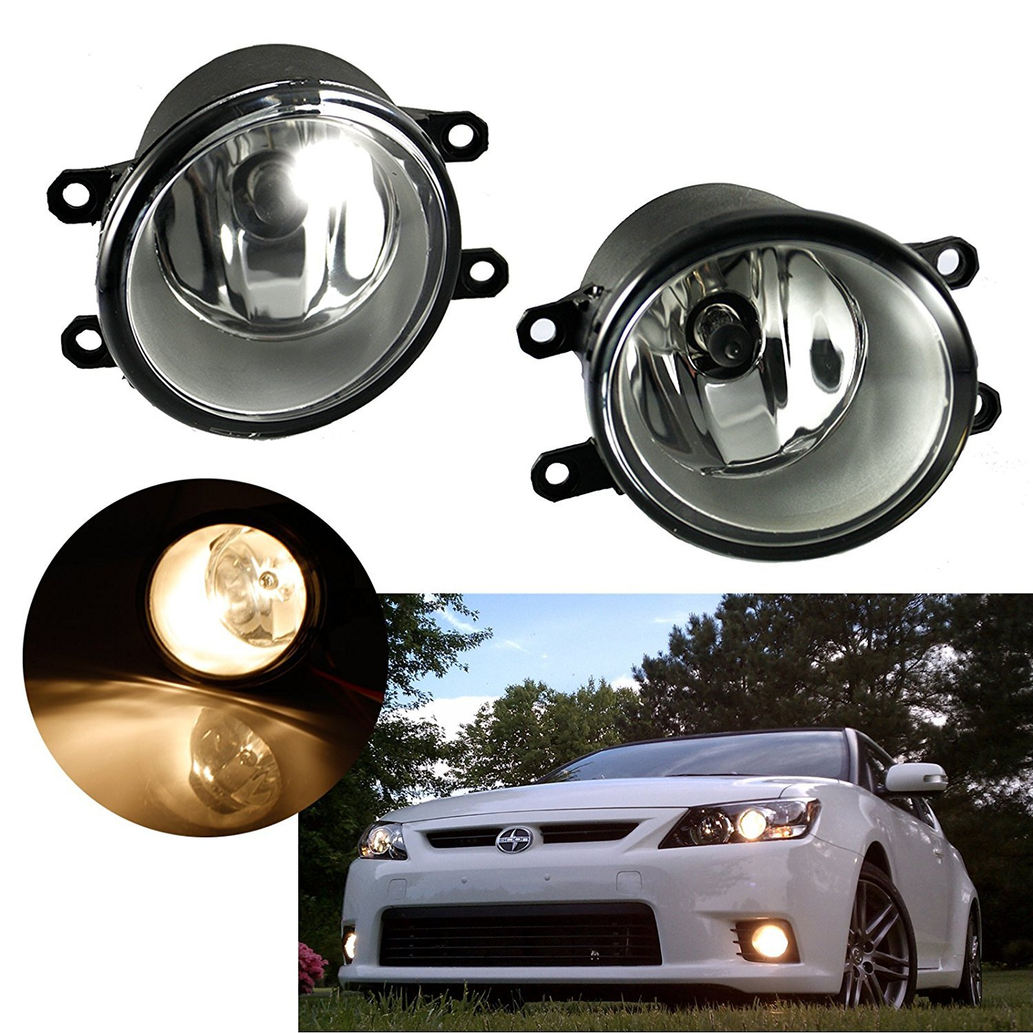 Xotic Tech 1 Pair Fog Light Lamps With H11 Halogen Bulbs