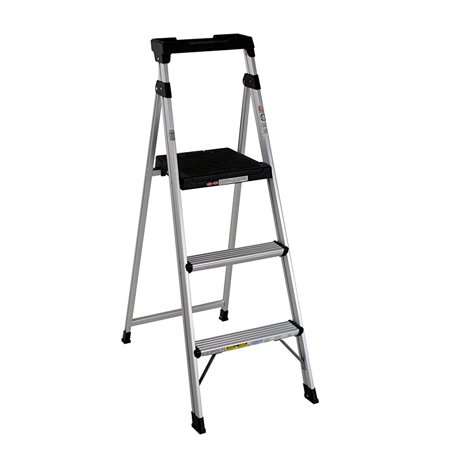Cosco Lite Solutions 3-step Step Stool, 9ft 3in Max Reach (Aluminum and Gray, 1 Pack)