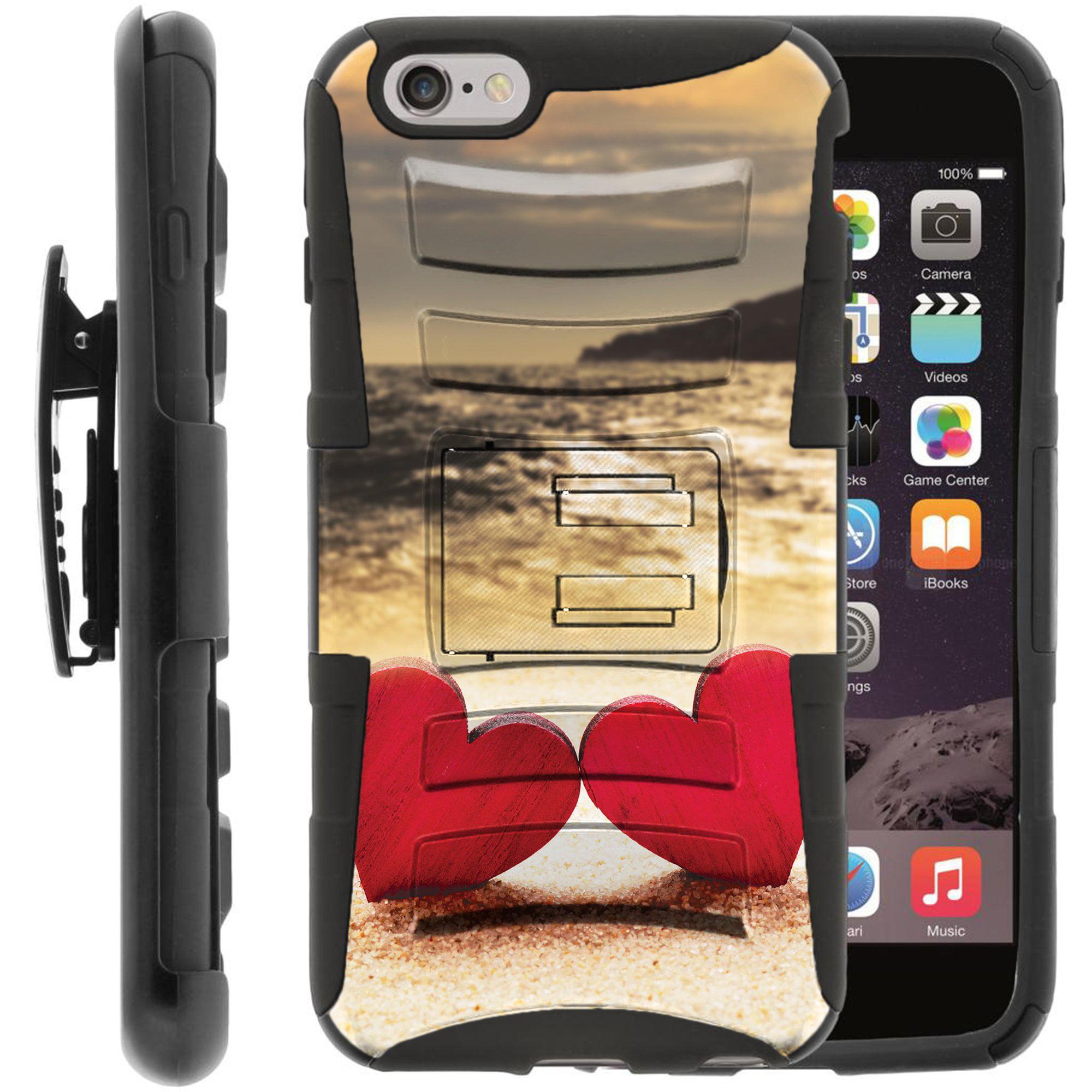 "TurtleArmor ®   For Apple iPhone 7 Plus (5.5"") [Hyper Shock] Hybrid Dual Layer Armor Holster Belt Clip Case Kickstand - Beach Shore"