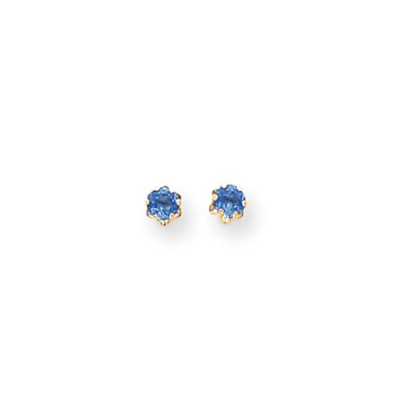 Synthetic Sapphire Earrings - 4mm Synthetic Sapphire Screw Back Stud Earrings in 14K Yellow Gold