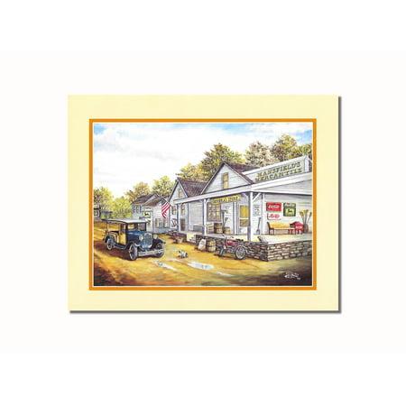 Country Mercantile Store Folk Landscape Wall Picture 8x10 Art Print - Folk Art Halloween