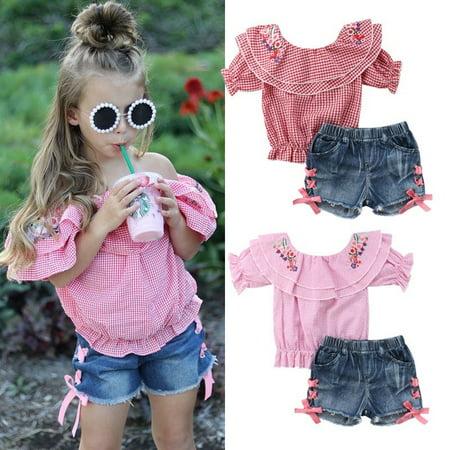 Newborn Kid Baby Girls Flower Tops T-shirt Denim Pants Shorts Outfits Set