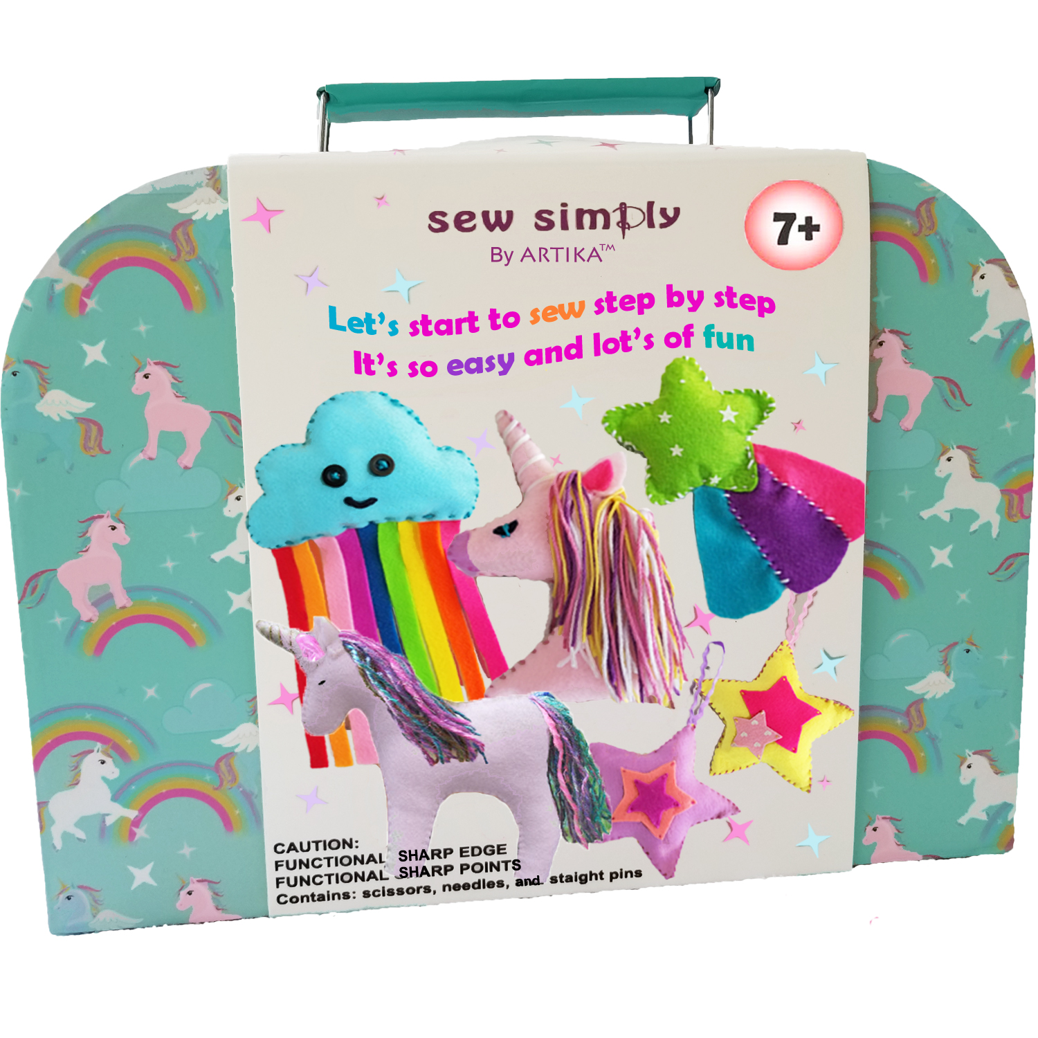 ARTIKA Sew Simply Sewing Kit for Beginners, Kids - Over 110 Quality Kids Sewing Supplies Including Booklet of Cutting Shapes Stencils