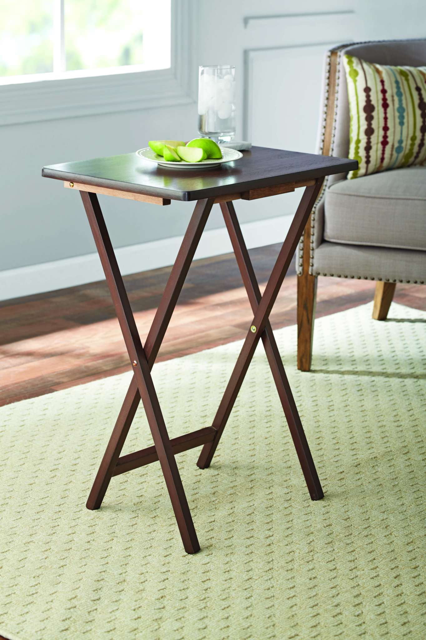2-Pack Multi-Functional Mainstays  Folding TV Tray Table Set in Walnut Wood