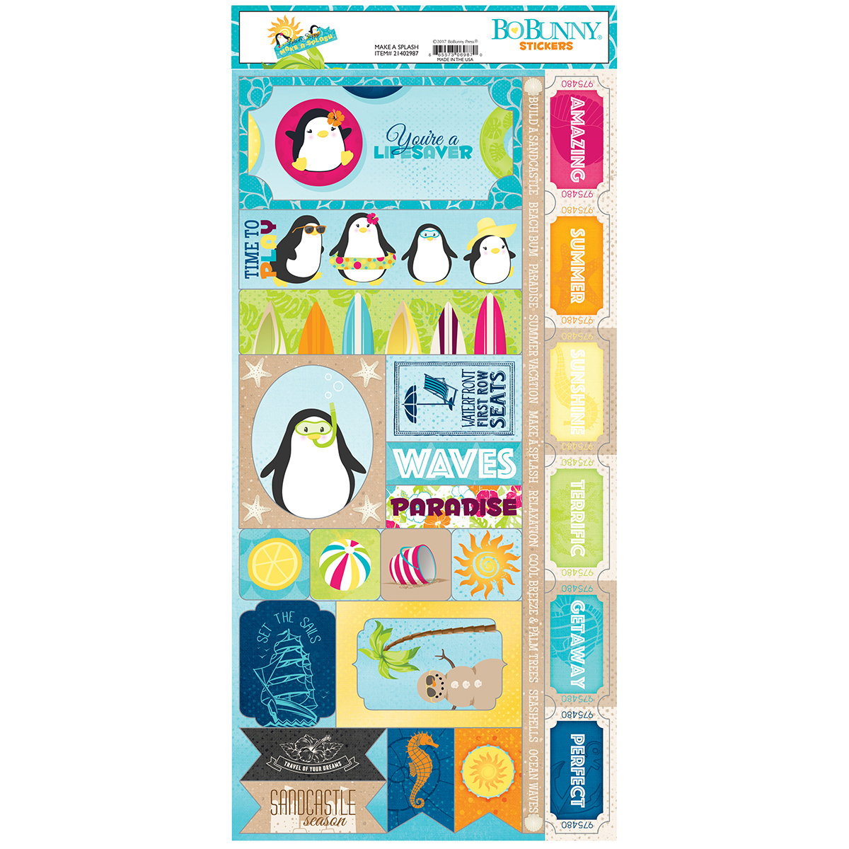 "BoBunny 21402987 Make A Splash Combo Stickers 12""X12""-"
