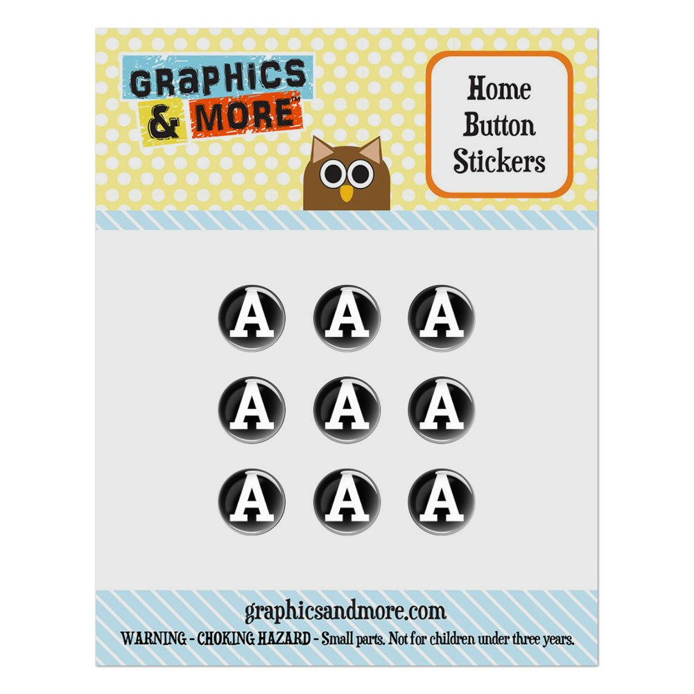 Letter A Initial Black White Home Button Stickers Set Fit Apple iPhone iPad iPod Touch