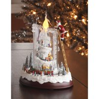 """8.5"""" White and Brown Mountaintop Candle LED Lighted Christmas Tabletop Decor"""