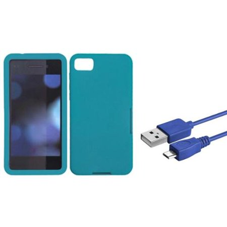 Insten Solid Case (Tropical Teal Green) for BLACKBERRY: Z10 (Bundle with Micro USB (Blackberry Z10 Silicone Skin)