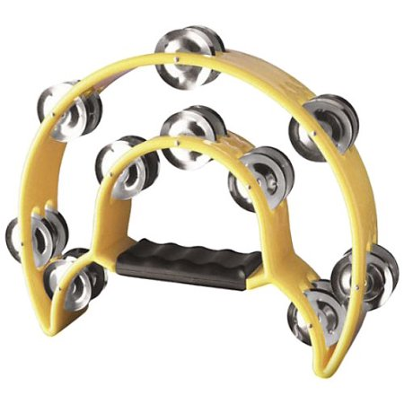 TAB-1 YW Cutaway Plastic Tambourine with 20 Jingles - Yellow, Plastic Construction By Stagg From USA