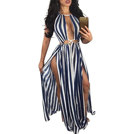 c87c635562 VISTA - Women's Boho Floral Halter Summer Beach Party Split Cover up Dress S -XL - Walmart.com