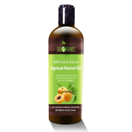 Apricot Kernel Oil by Sky Organics - 100% Pure, Natural & Cold-Pressed Apricot Oil - Ideal for Massage , Cooking and Aromatherapy- Rich in Vitamin A - 8oz Natural Spa Apricot