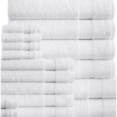 Addy Home Best Value 24PC Bath Towel Set (2 Sheets, 4 Bath, 6 Hand, 4 Fingertip & 8 Wash) - White