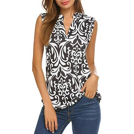 Women's Sleeveless Floral Print V Neck Henley Tank Tops Blouse Shirts Tunic