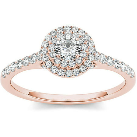 Imperial 1/2 Carat T.W. Diamond 10kt Rose Gold Double Halo Engagement (Double Rose Rings)