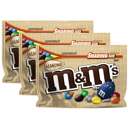 (3 Pack) M & M's Almond Chocolate Candies, 9.3 oz Almond Mint Candy