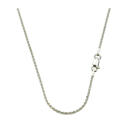 Sterling Silver 1.5mm Diamond-Cut Rope Nickel Free Chain Necklace Italy, 22