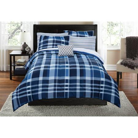 mainstays plaid bed in a bag bedding set. Black Bedroom Furniture Sets. Home Design Ideas