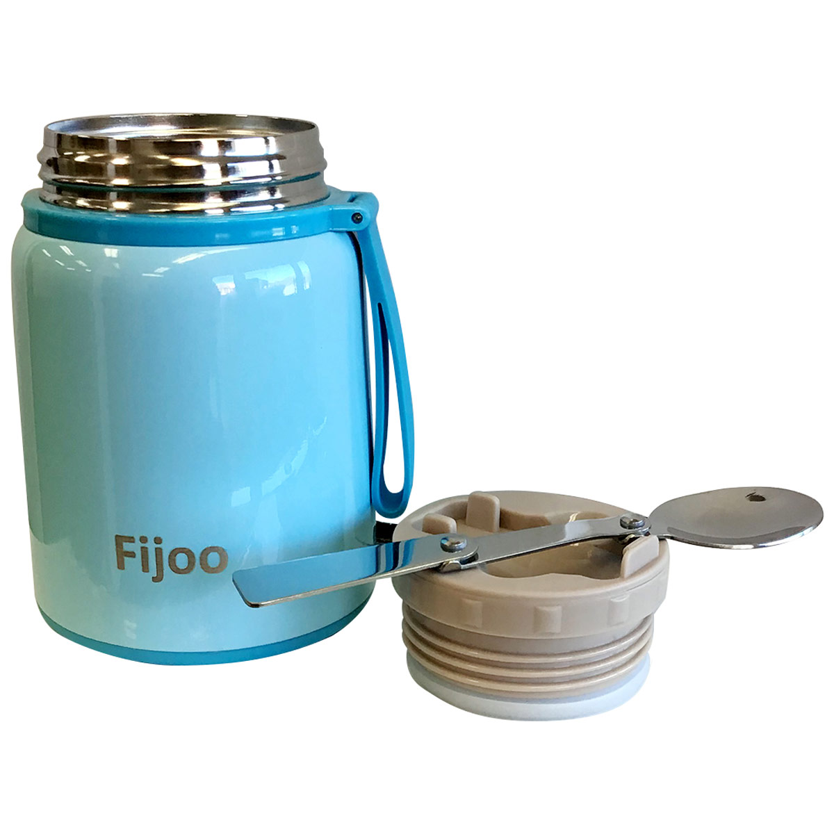 Best Stainless Steel Thermos Food Jar with Folding Spoon - Triple Wall Vacuum Insulated Hot & Cold Storage Soup Container - Food Grade, Unbreakable, Leak Proof, BPA Free 16 oz (Blue)