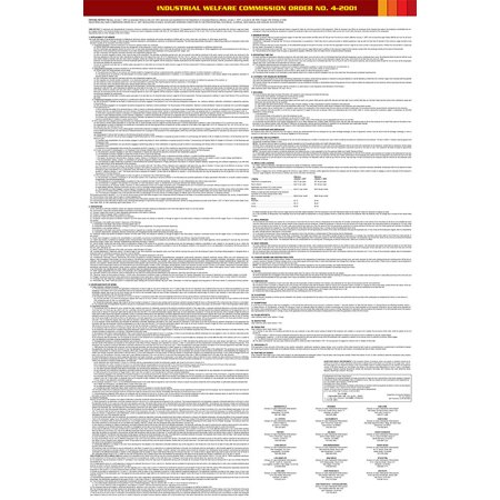 Compliance Assistance: California Industry Welfare Commission (IWC) #4 Professional, Technical, Clerical, Mechanical Industries Poster- Up to Date, Thick Lamination, Compact, OSHA Compliant (Osha Compliance Posters)