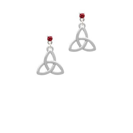 a8ad5922c Delight Jewelry - Silvertone Large Trinity Knot Maroon Crystal Post  Earrings - Walmart.com