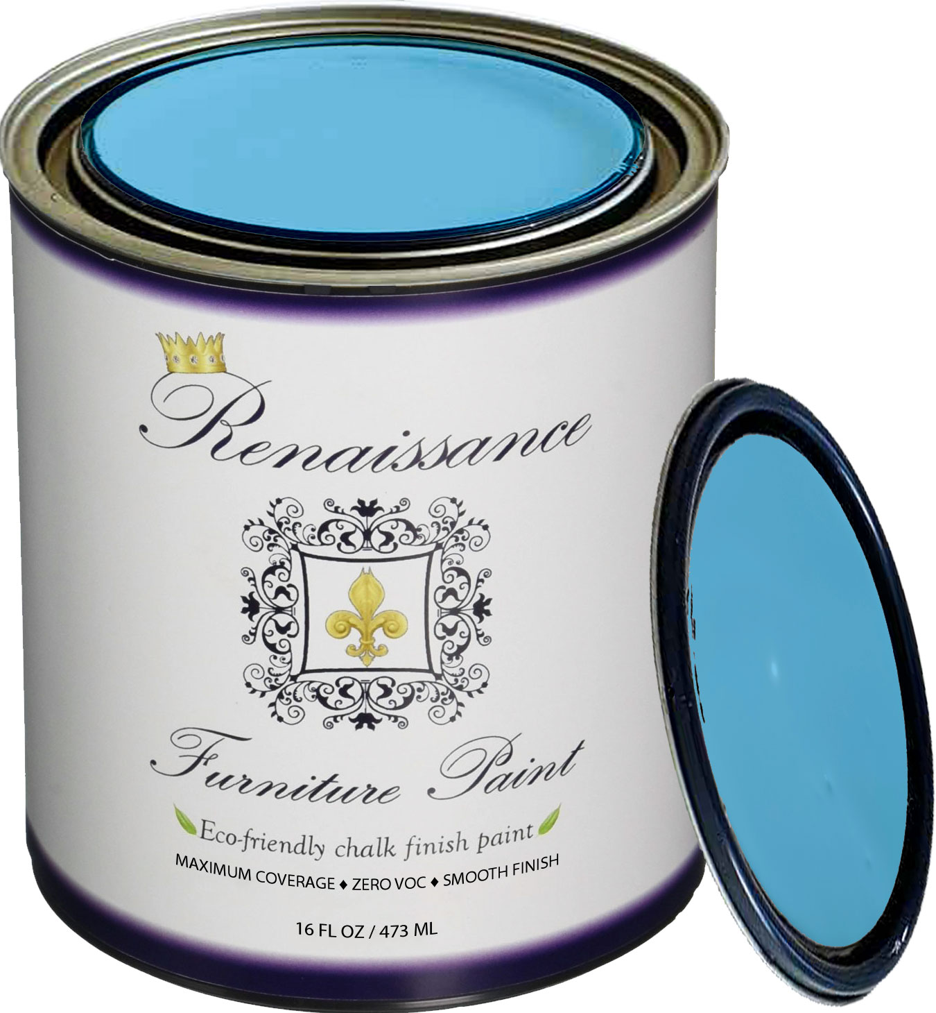 Renaissance Chalk Finish Paint - Celestial Blue Pint (16oz) - Chalk Furniture & Cabinet Paint - Non Toxic, Eco-Friendly, Superior Coverage